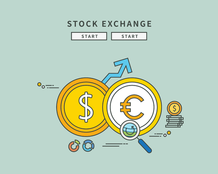 Simple color line flat design of stock exchange, modern vector illustration Illustration