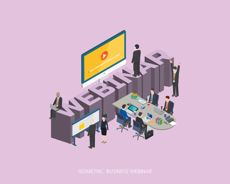convention: Flat 3d isometric vector illustration. Illustration