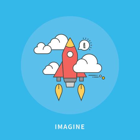 Circle color line flat design of imagine, modern vector illustration Illustration