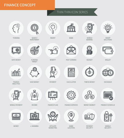 Thin thin line icons set of finance concept, modern simple style Illustration