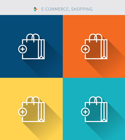 Thin thin line icons set of shopping & e-commerce, modern simple style Illustration