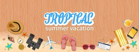 Summer holiday vacation concept, Tropical horizontal layout Flat vector illustration