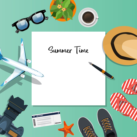 reservation: Summer holiday vacation concept, Plan vector illustration