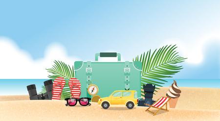 Summer holiday vacation concept, vector illustration Ilustração