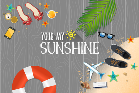 Summer holiday vacation concept, Sunshine flat vector illustration