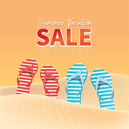 Summer holiday vacation concept, Sale promotion vector illustration