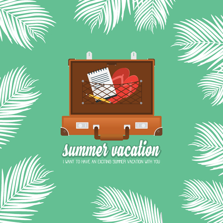 Summer holiday vacation concept, Trunk and Calligraphy vector flat illustration