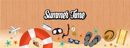 Summer holiday vacation concept, Horizontal layout Flat vector illustration