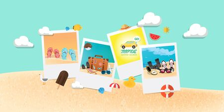 Summer holiday vacation concept, abstract style layout vector illustration