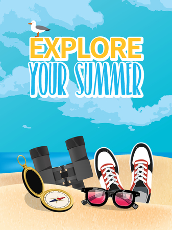 Summer holiday vacation concept, vector illustration Illustration