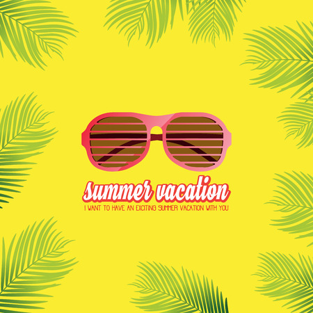 Summer holiday vacation concept, Sunglasses and Calligraphy vector flat illustration 일러스트