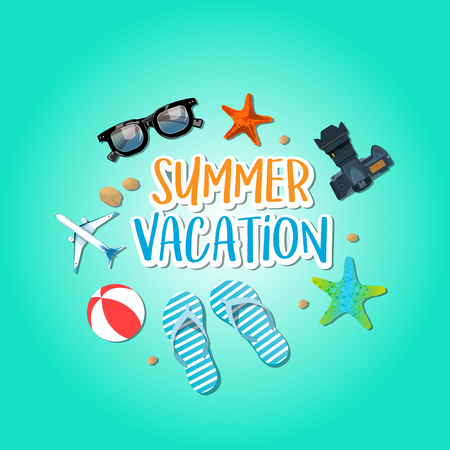 Summer holiday vacation concept, isolated objects cute vector illustration Illustration
