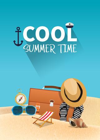 Summer holiday vacation concept, vector illustration 일러스트