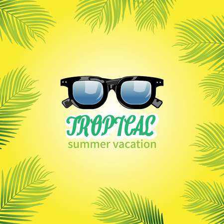 uv: Summer holiday vacation concept, Sunglasses and Calligraphy vector flat illustration Illustration