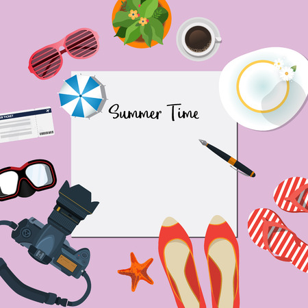 Summer holiday vacation concept, Plan vector illustration
