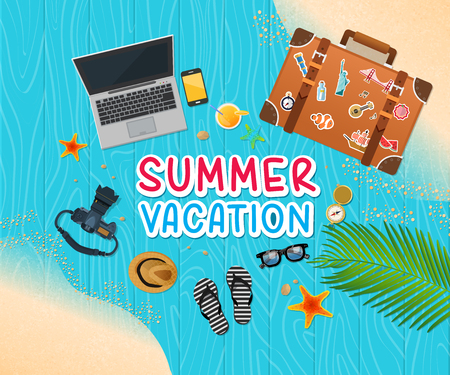 vacation with laptop: Summer holiday vacation concept, trunk and objects vector illustration
