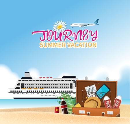 Summer holiday vacation concept, Cruise and airplane journey vector illustration Illustration