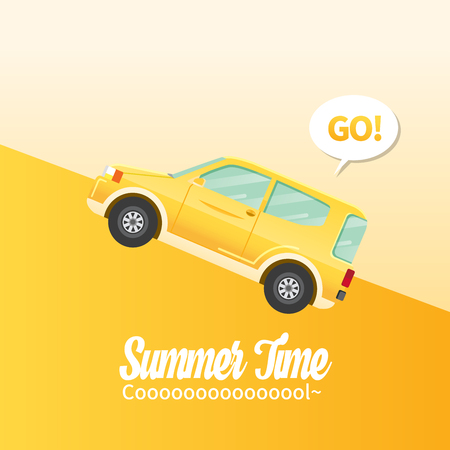 Cute flat design style travel SUV and Retro Classic typography Illustration