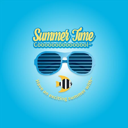 Summer holiday vacation concept, Sunglasses and Calligraphy vector flat illustration Çizim