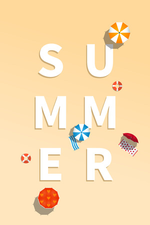 Summer holiday vacation concept, typography layout vector flat illustration