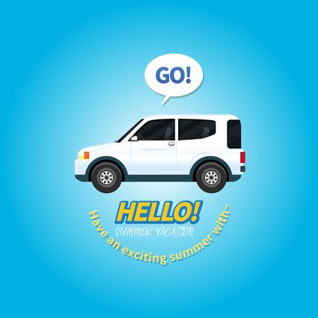 Cute flat design style travel SUV and Retro Classic typography Çizim