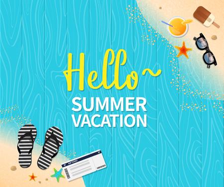 Summer holiday vacation concept, Wooden floor flat vector illustration