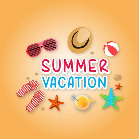 Summer holiday vacation concept, isolated objects cute vector illustration Çizim