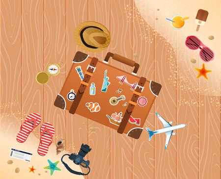Summer holiday vacation concept, trunk and objects vector illustration