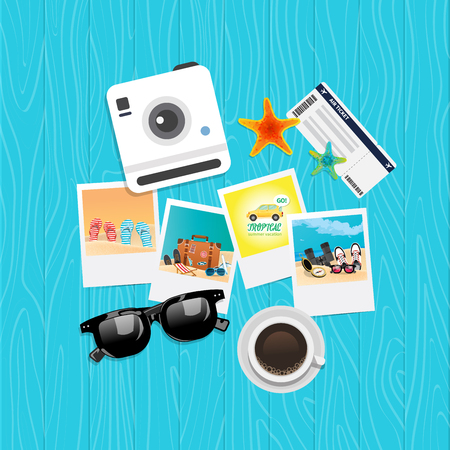 Summer holiday vacation concept, top view vector illustration