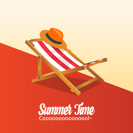 Summer holiday vacation concept, Sunbed and Calligraphy vector flat illustration