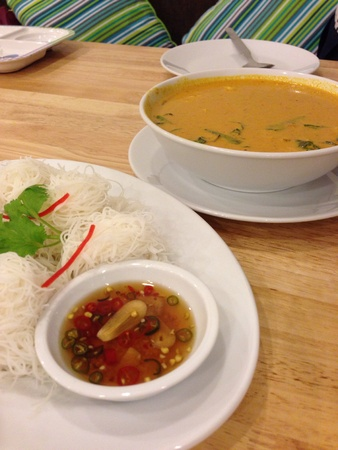 phuket food: crab meat curry with noodle local food from Phuket Thailand