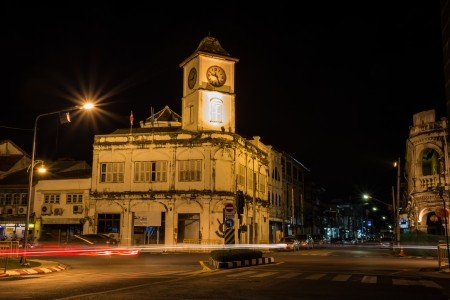 clock tower located at old phuket town, Phuket, Thailand photo