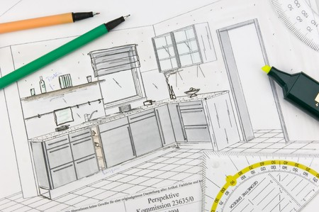 fitted: planning scribble of a built-in-kitchen