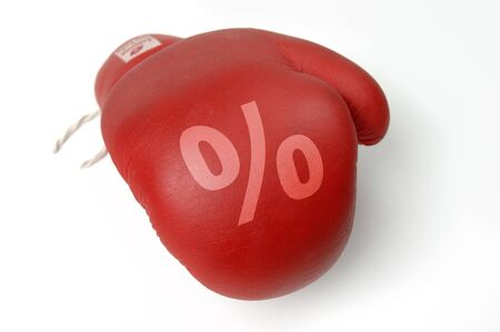 price hit: Red boxing glove with percent sign