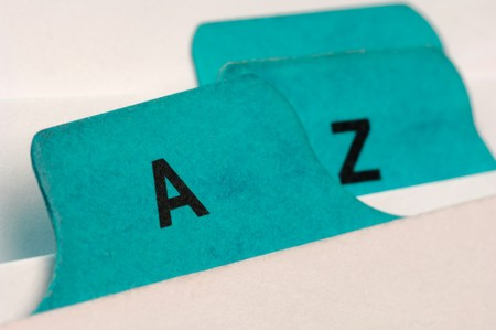 precedence: Green file cards A and Z Stock Photo