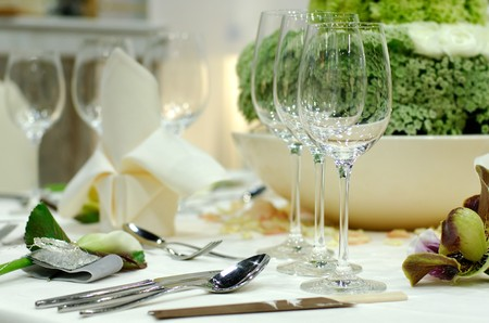 lavish: Luxury dining table Stock Photo