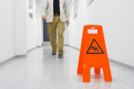 slip: Warning sign for slippery floor
