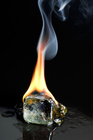 Burning ice cube photo