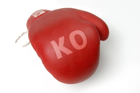Red boxing glove with word  photo