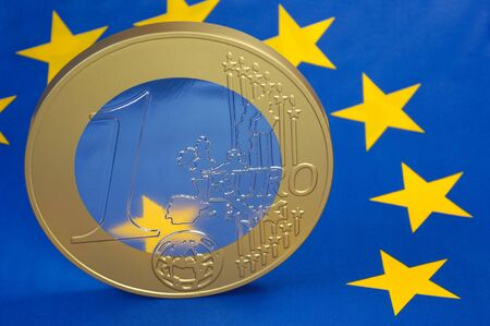 liquidity: Euro coin on a euro flag