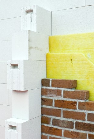 rockwool: Thermal insulation of a house wall Stock Photo