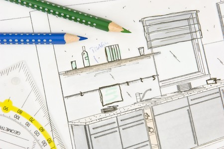 Scribble of a modern built-in-kitchen Stock Photo - 7584433