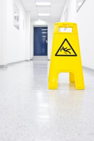 Warning sign slip hazard Stock Photo