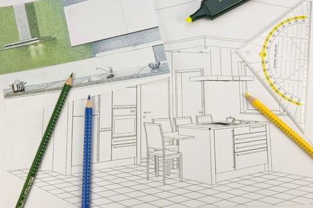 interior layout: Plan scribble of a modern built-in-kitchen
