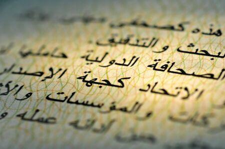 buchstaben: Nahaufnahme eines arabischen Textes in einem internationalen Presseausweis. Das Kapitel bezieht sich auf die Bitte an Beh�rden, Institutionen und Unternehmen, den Journalisten bei seiner Arbeit zu unterst�tzen und ihm den Zugang zu Informationen zu erleic