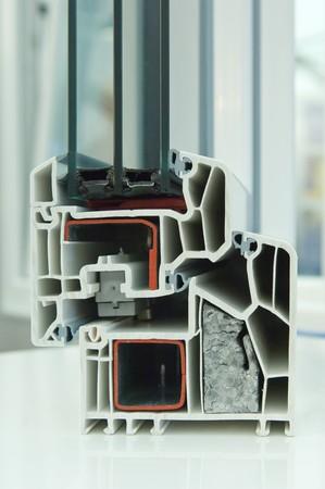 Schnittmodell eines Kunststofffensterrahmens Cutaway model of a plastic window frame  photo