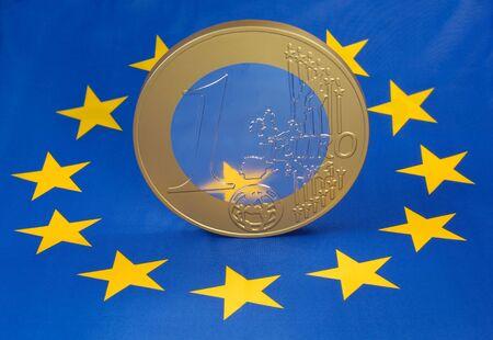 financial diversification: Euro coin on a european flag Stock Photo