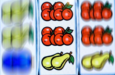 Rotating display of a fruit machine photo