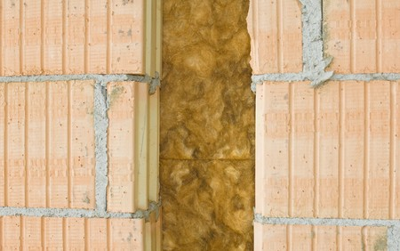 Thermal insulation of a house wall photo