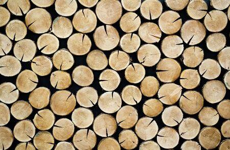 grates: Stacked tree slices Stock Photo